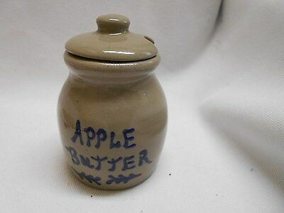 small vintage Apple Butter blue writing small crock