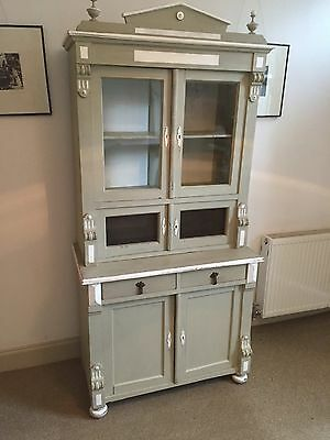 Antique French Pine Painted Glazed Kitchen Dresser Cupboard In French Grey