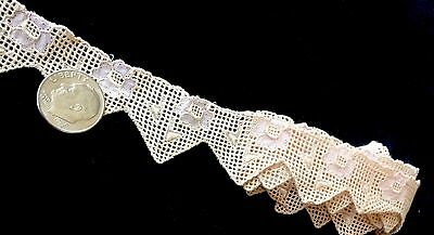 """Antique Lace Dainty Dolls Trim Pink Scalloped 27"""" Edging Doll Costume Flowers"""