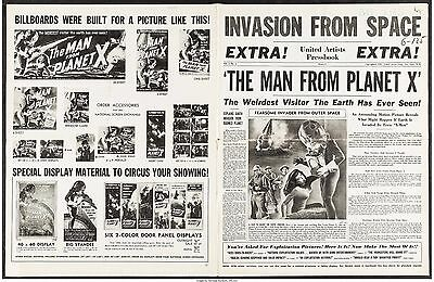 MAN FROM PLANET X original 1951 UNCUT PRESSBOOK PRESS BOOK RARE VERY FINE- 7.5