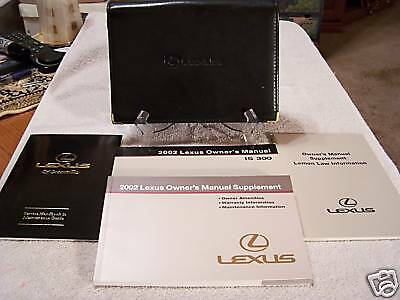 **NICE** 2002 Lexus IS 300 Owners Manual Set With Case