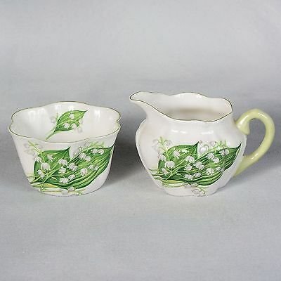 """Shelley """"lily Of The Valley"""" Cream & Sugar"""