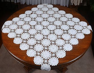 """Square Crocheted Table Topper/table Cloth - White 3' 7"""" X 3' 7"""""""