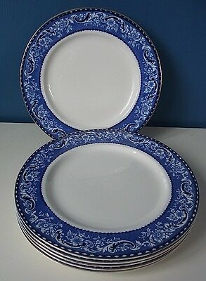 "Antique Alfred Meakin Blue & White ""leighton"" - Set Of 6 Salad Plates - 8"" Vgc"