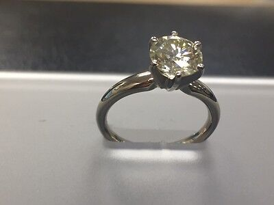 MOISSANITE  SOLITAIRE 14k white gold 6 prongs round ENGAGEMENT RING 1.5 carat