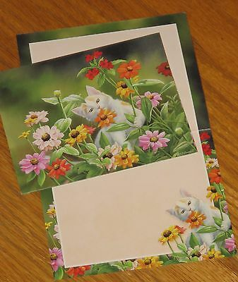 Susan Bourdet Art cat flowers Please Dont Eat The Zinnias Lang Note Cards 6ct