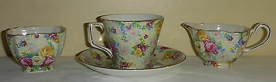 Vintage Lord Nelson Ware England Rose Time Chintz Tea Cup Saucer Cream & Sugar