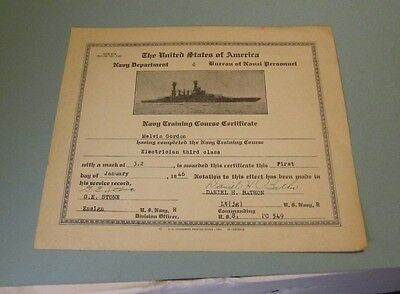 1946 WWII US Navy Submarine Chaser USS PC 549 Electrician Training Certificate