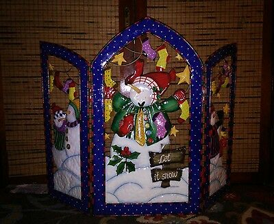 metal holiday christmas 3d fireplace screen cover snowman