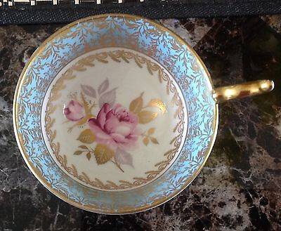 Aynsley Bone China Pale Blue and Gold Cup only Pink cabbage rose