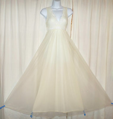 Vtg Lov Lee ivory champagne double layer with chiffon nightgown gown negligee S