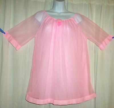 Vtg Pink Dore sheer chiffon double layer nightgown baby doll nightgown M