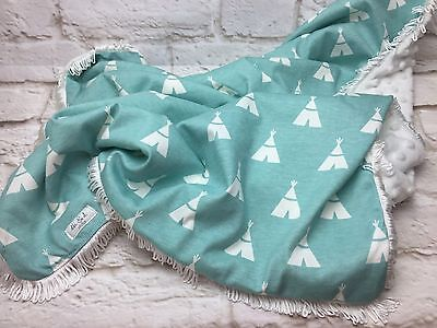 Cotton Minky Blanket, Pram, Cot, Shower Gift cotton top - Mint Teepee Print