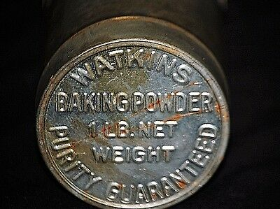 Old Vintage Advertising Ad Watkins Baking Powder Purity Tin Can w Embossed Lid