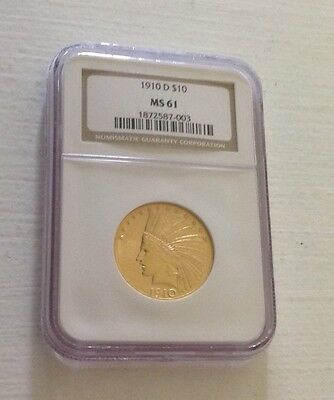 1910-D Gold $10 Indian Head American Eagle - Ngc Ms61