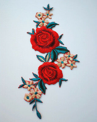 Embroidered Sew Iron On Patches Red Flower Badge Floral Jeans Applique Craft DIY