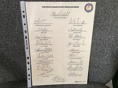 South African Cricket 2003 World Cup Squad Hand Signed Autographed Team Sheet