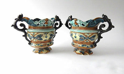 Pair of Antique French Majolica Jardinieres