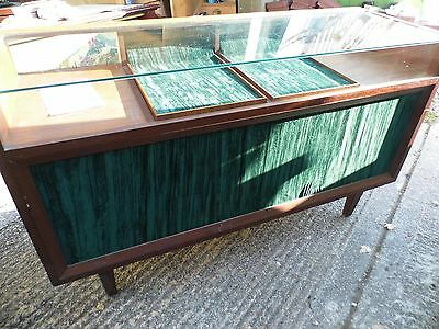 Vintage glass top Shop counter / Jewellers cabinet  with storage ( D )