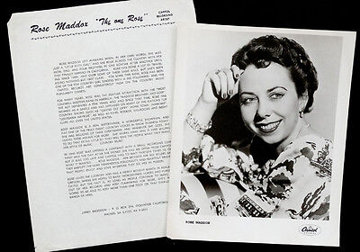 1960 Vintage ROSE MADDOX Press Bio PUBLICITY PHOTO Country Music GRAND OLE OPRY