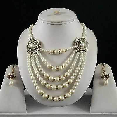 Ivory Gold Indian Costume Jewellery Necklace Earrings Pearls Set New Bridal Gift