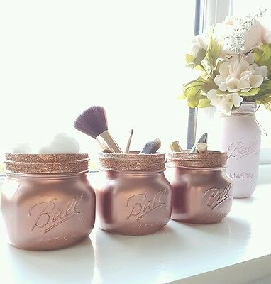 Painted Rose Gold Mason jars set of 3 - Perfect for Home Decor & Weddings