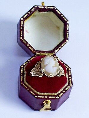 1990s VINTAGE 9CT HM GOLD CARVED SHELL LADY CAMEO RING 2.9 g  U.K. S  U.S. 9.5