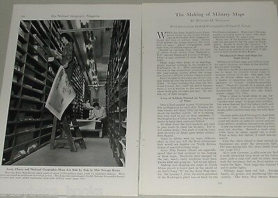 1943 magazine article, Making of Military Maps, design, printing etc