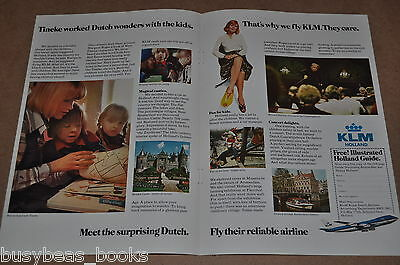 1975 Royal Dutch Airlines 2-page advertisement, KLM, stewardess