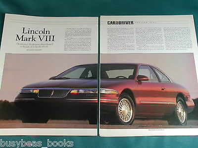 1993 LINCOLN MARK VIII magazine article, test report, specs, photos