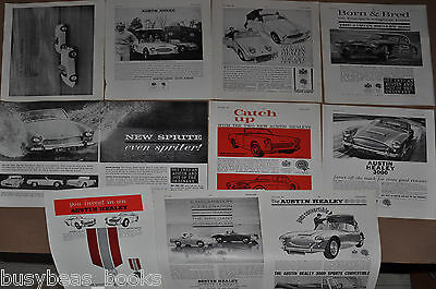 1960-62 AUSTIN HEALEY advertisements x10, British adverts, Sprite & 3000 BMC