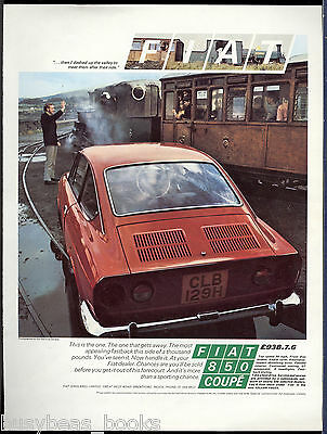 1970 FIAT 850 advertisement, British ad Fiat 850 Festiniog Railway Ffestiniog