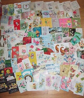 110 Used Vintage greeting Cards Lot 1940s-1970s fronts as is scrapbooking craft
