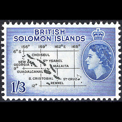 BRITISH SOLOMON ISLANDS 1960 1/3d. Map. SG 91b. Mint Never Hinged.(CA01R)