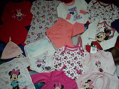 **AMAZING**NEW 54x BUNDLE OUTFITS  MINNIE BAMBI BABY GIRL CLOTHES 0/3 MTHS NRD