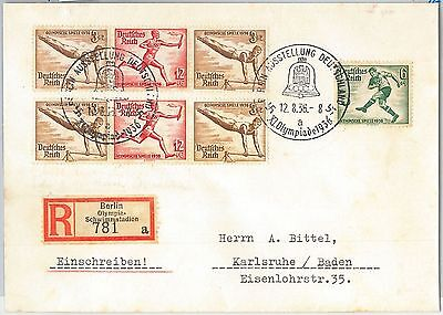 59955  - Germany - Postal History - Registered Cover: Olympic Games 1936