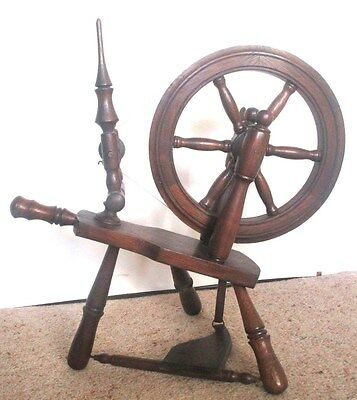 Rare Antique Table Top Oak Spinning Wheel 15 Inches High