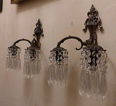 Pair Vintage Antique Brass Effect Wall Down Lights with Crystal Spears C1930's