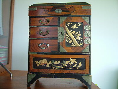 Meiji Period Japanese Tansu Lacquerware Jewellery Cabinet [box/not/chinese]