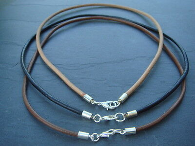 3mm real leather cord choker necklace in black natural or brown 12-30 inches