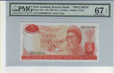 1967-81 New Zealand ,reserve Bank 5 Dollars  Pmg 67 (Super Gem Unc)