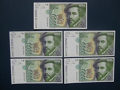 5No. 1992 SPAIN 1000 PESETAS BANKNOTE COLLECTION FRESH aUNC