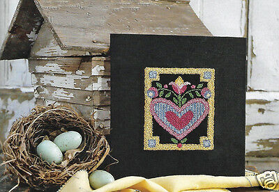 Primitive Heart Tulip Pennsylvania Dutch Punch Needle Embroidery PATTERN OOP