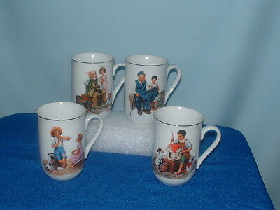 FOUR DIFFERENT Norman Rockwell Museum Cups / Mugs, 1982