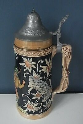"PEWTER LIDDED GERMAN STEIN - DANCERS & FLORAL SCENES - 1 Ltr, 10.5"" Tall, VGC"