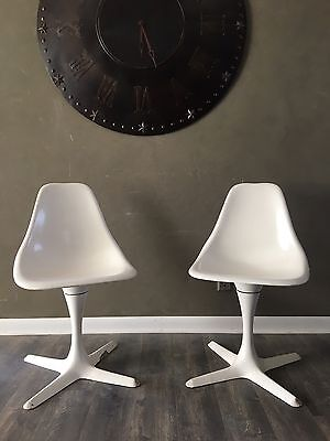 2 Vintage Burke Mid Century Modern Side Swivel Tulip Chairs 103 Retro Eames Era