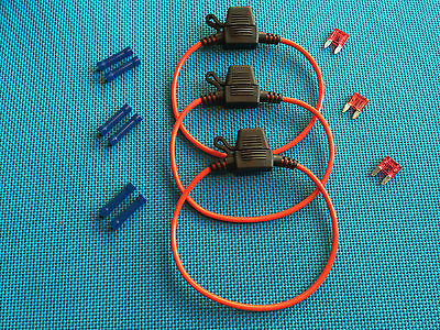 Daier Mini Atm Inline  Fuse Holder Kit 10A Lot Of 3 W/ Covers Fuses & Connectors