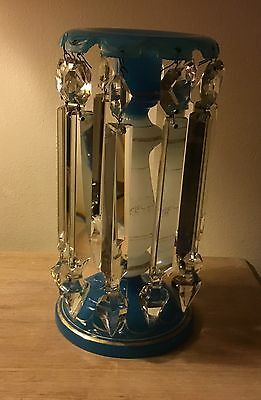 """Antique Glass Lustre/Candlestick, Aquablue, Crystal Prism Droppers, 10"""" Tall"""