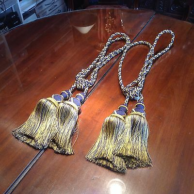 Pair Hand Made Navy And Gold Double Tassel Curtain Tie Backs
