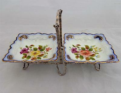 Antique Flow Blue Jam Dishes Wiltshaw Robinson Carlton Ware Plated Stand c 1899